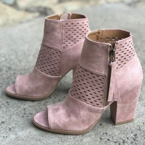 Shoes - Blush Open Toe Booties